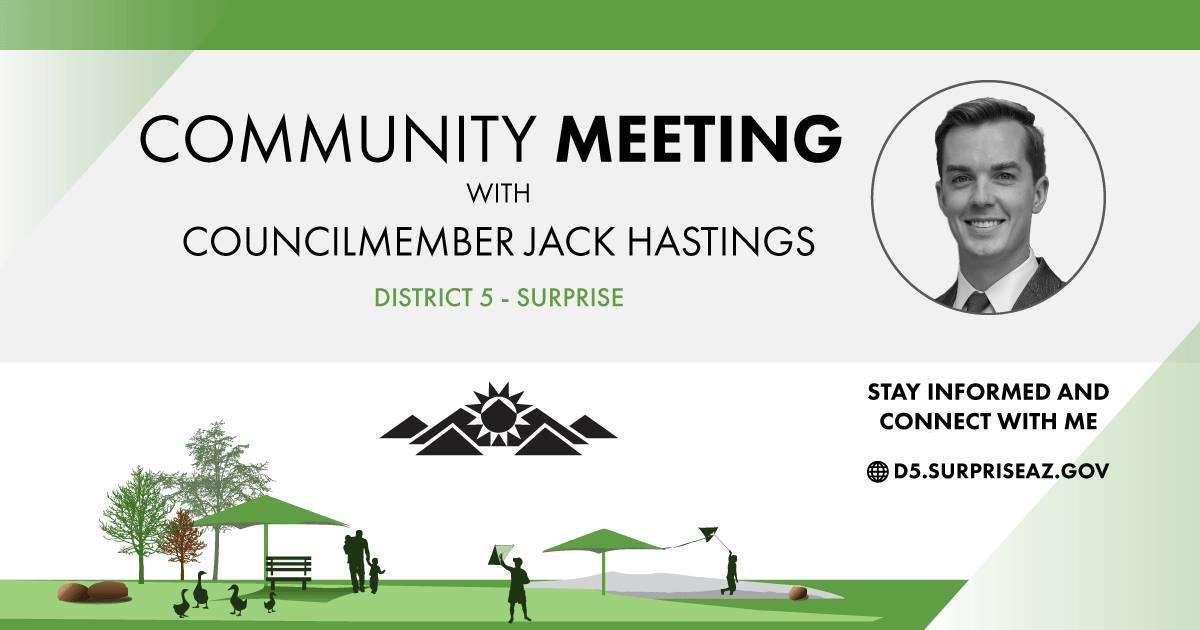 District 5 community meeting banner.