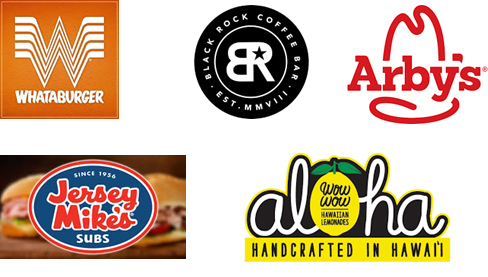 Various restaurant logos: Whataburger, Black Rock Coffee Bar, Arby's, Jersey Mike's, Aloha.