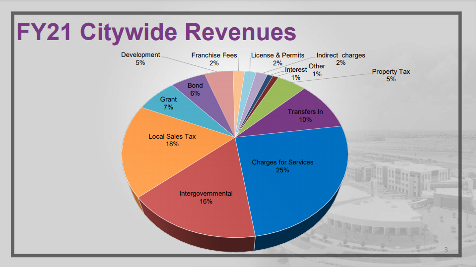 A pie chart displaying a breakdown of citywide revenue.