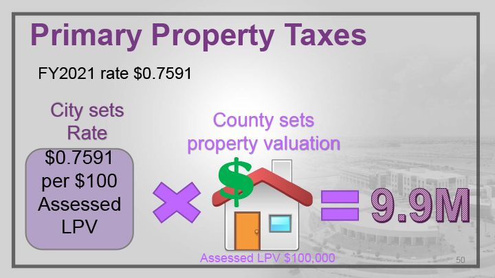 An infographic display for primary property taxes.