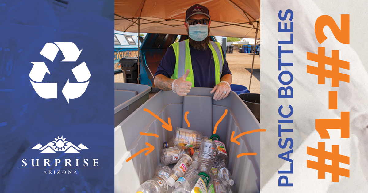A City of Surprise employee gives a tumbs-up over a container of recycled plastic bottles.
